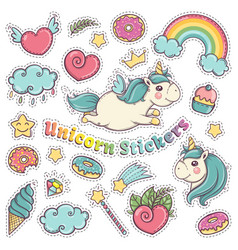 Unicorn sweet set of stickers pins patches in vector