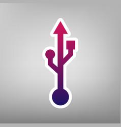 Usb sign purple gradient vector
