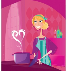 Valentine's cooking illustration vector image