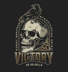 viking colorful vintage label vector image