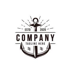 vintage old anchor nautical marine logo vector image