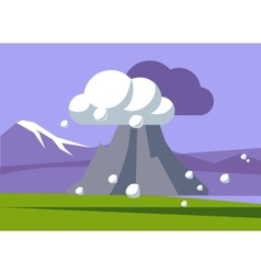Volcano Erupting In Iceland vector
