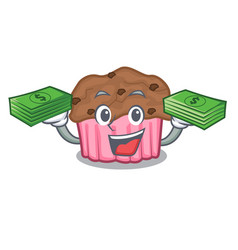 With money bag chocolate muffins on grilled board vector