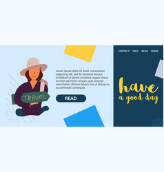 woman in a hat holding a backpack vector image