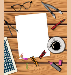 workspace with laptop notebook vector image