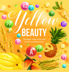 Yellow diet fruits and vegetables vitamins vector