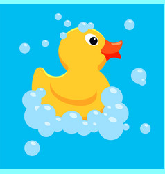 Yellow rubber duck toy vector