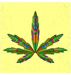 Zentangle stylized marijuana leaf Sketch for vector image
