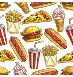 fast food meal snacks and dessert seamless pattern vector image