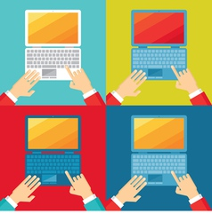 Human hands and computer notebook vector image vector image