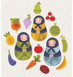 Matryoshka dolls with food vector image