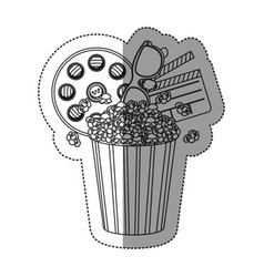 monochrome contour sticker with popcorn cup with vector image vector image