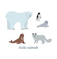 Set of Arctic Animals in Flat Design vector image vector image