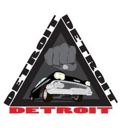 Vintage cars cartoon sketch print Detroit city vector image vector image
