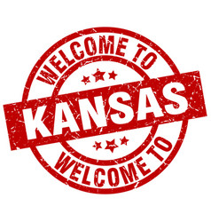 welcome to kansas red stamp vector image vector image