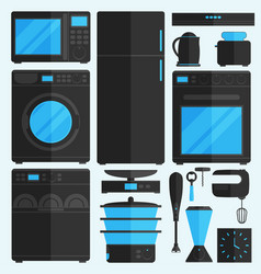 flat icons for kitchen appliances vector image vector image