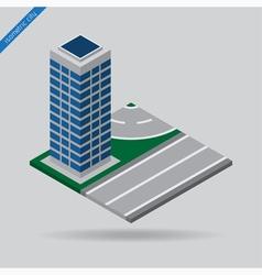 isometric city - road with skyscraper vector image