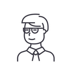 man student looking with glasses line icon vector image vector image