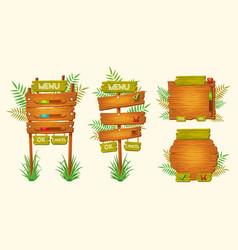 Set of cartoon wooden signs of various vector