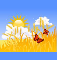 wheat field vector image