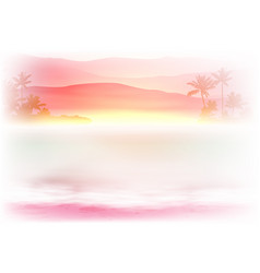Background with sea and palm trees sunset time vector