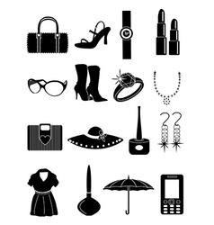 ladies accessories icons set vector image