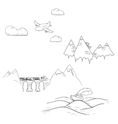 Set of traveling modes including airplane car vector image