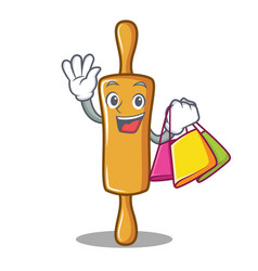 shopping rolling pin character cartoon vector image