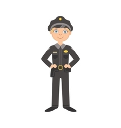 Boy dressed as policeman officer vector