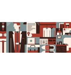 Business man object and accessories background vector image vector image
