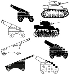 cannons and tanks vector image vector image