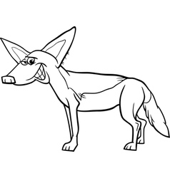 jackal animal cartoon coloring page vector image vector image