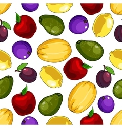 Seamless fresh fruits pattern for food design vector