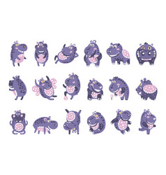 stylized hippo with polka-dotted pattern set of vector image