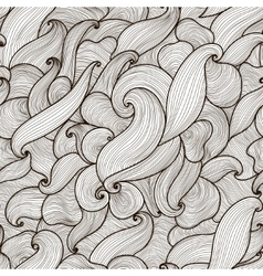 Abstract hand-drawn waves seamless pattern vector