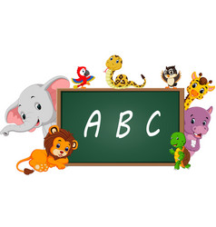 alphabet with cute wild animal vector image