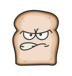 Angry slice bread cartoon vector