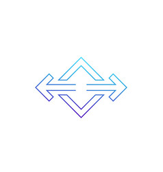 Arrows pointed in two directions line icon vector