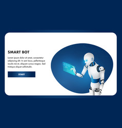 artificial intelligence robot use digital tablet vector image