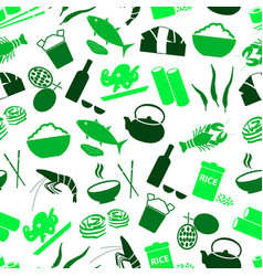 Asian food theme set of icons seamless green patte vector