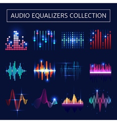 Audio Equalizer Neon Set vector