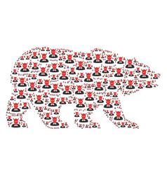Bear mosaic of devil items vector