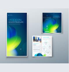 Bi fold brochure design with liquid abstract vector