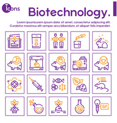 bio technologies color linear icons set vector image