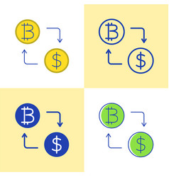 bitcoin exchange concept icon set in flat and line vector image