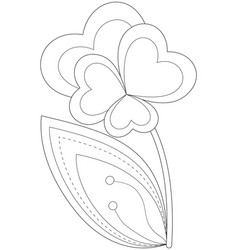 black and white heart flower plant vector image