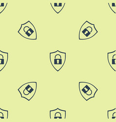 Blue shield security with lock icon icon isolated vector