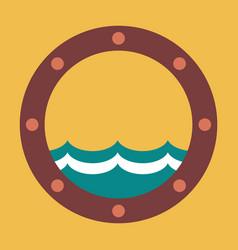 Boat round porthole seascape metal ship porthole vector