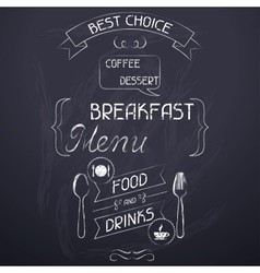 Breakfast on restaurant menu chalkboard vector