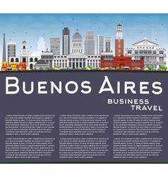 Buenos Aires Skyline with Color Landmarks vector image